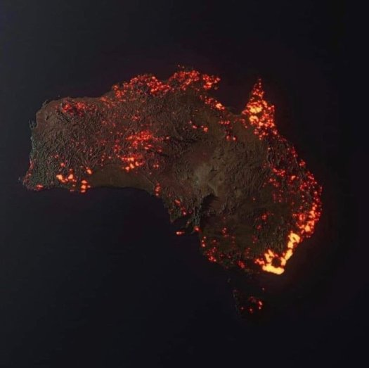 Burning image of Australia by NASA
