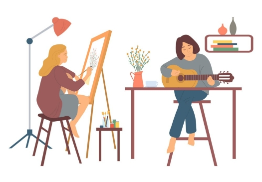 Women pursuing hobbies during quarantine. Woman at home vector, hobby of lady sitting on high stool playing guitar. Guitarist musician and painter, artist with brushes easel with canvas interest